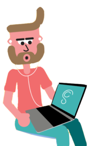 illustration of man using soniccloud on a laptop