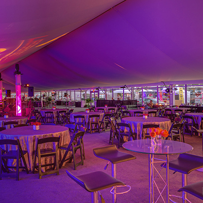 Lit Tent with Cocktail Table & Stools