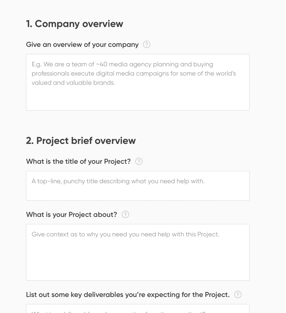 How it works: Step 2 - Submit a Project Brief