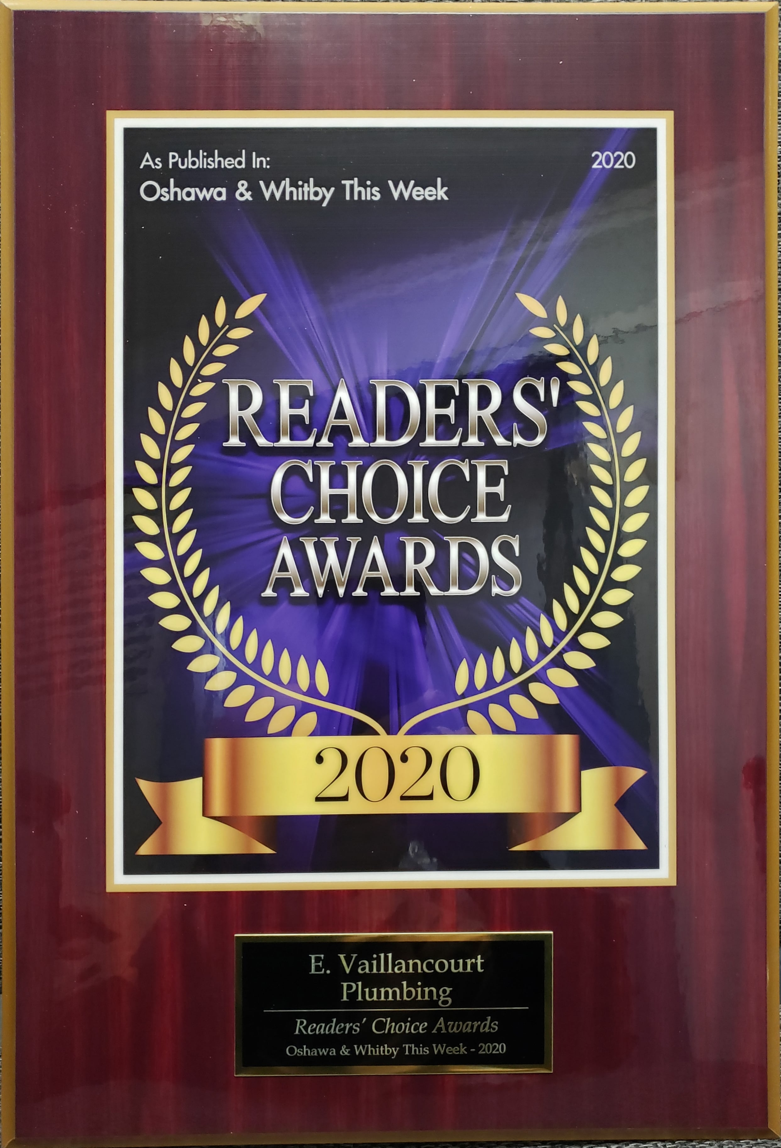 2020 Readers' Choice Award - E. Vaillancourt Plumbing