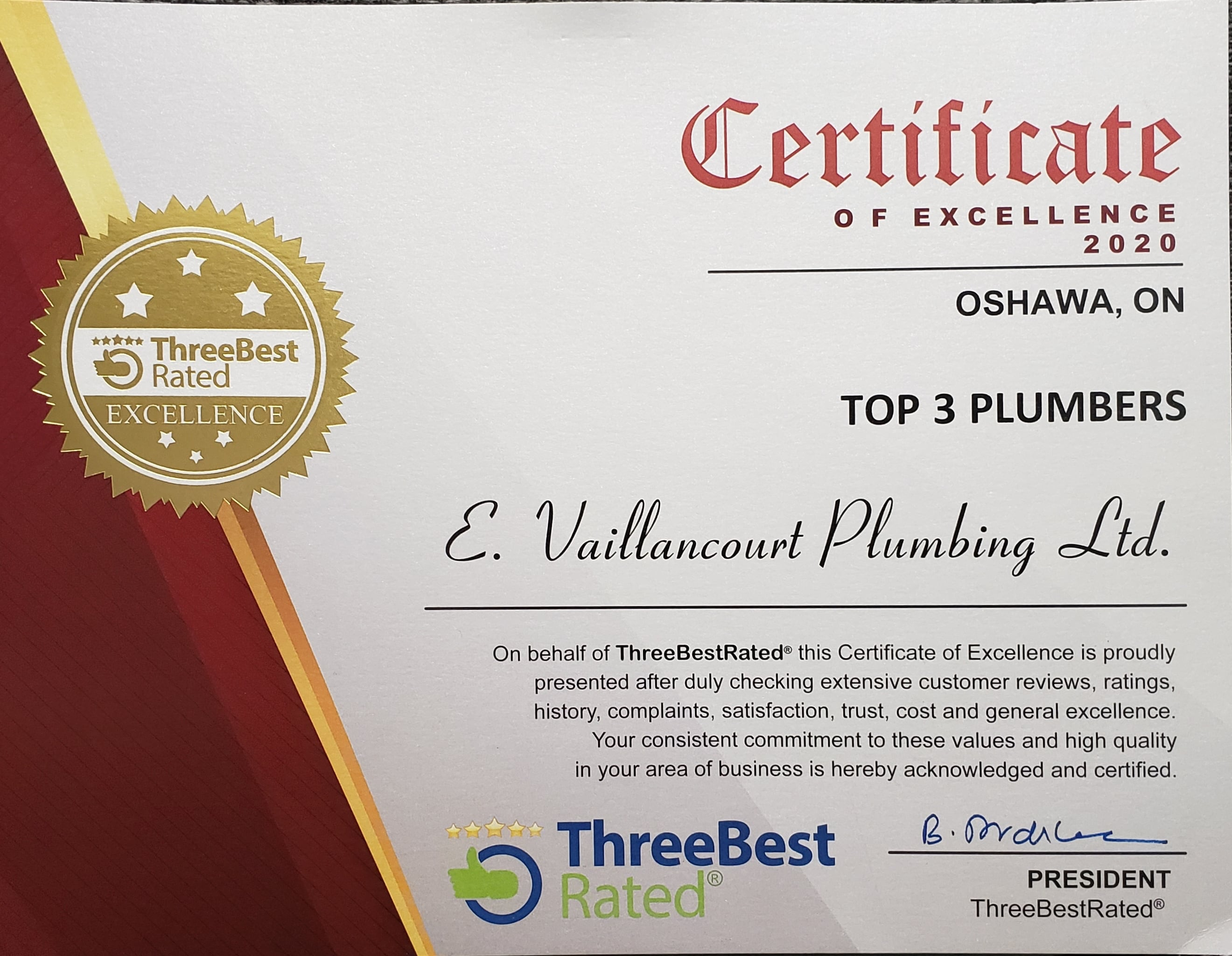 3 Best Certificate - E. Vaillancourt Plumbing