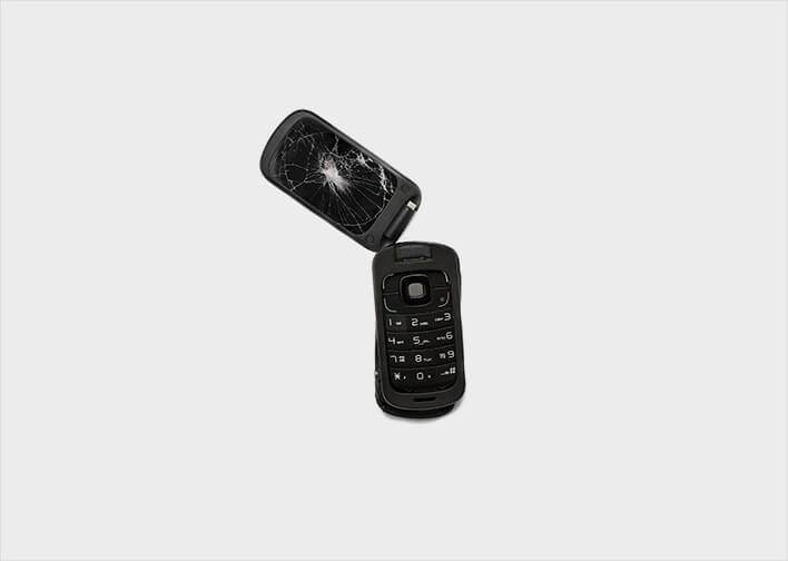broken flip phone