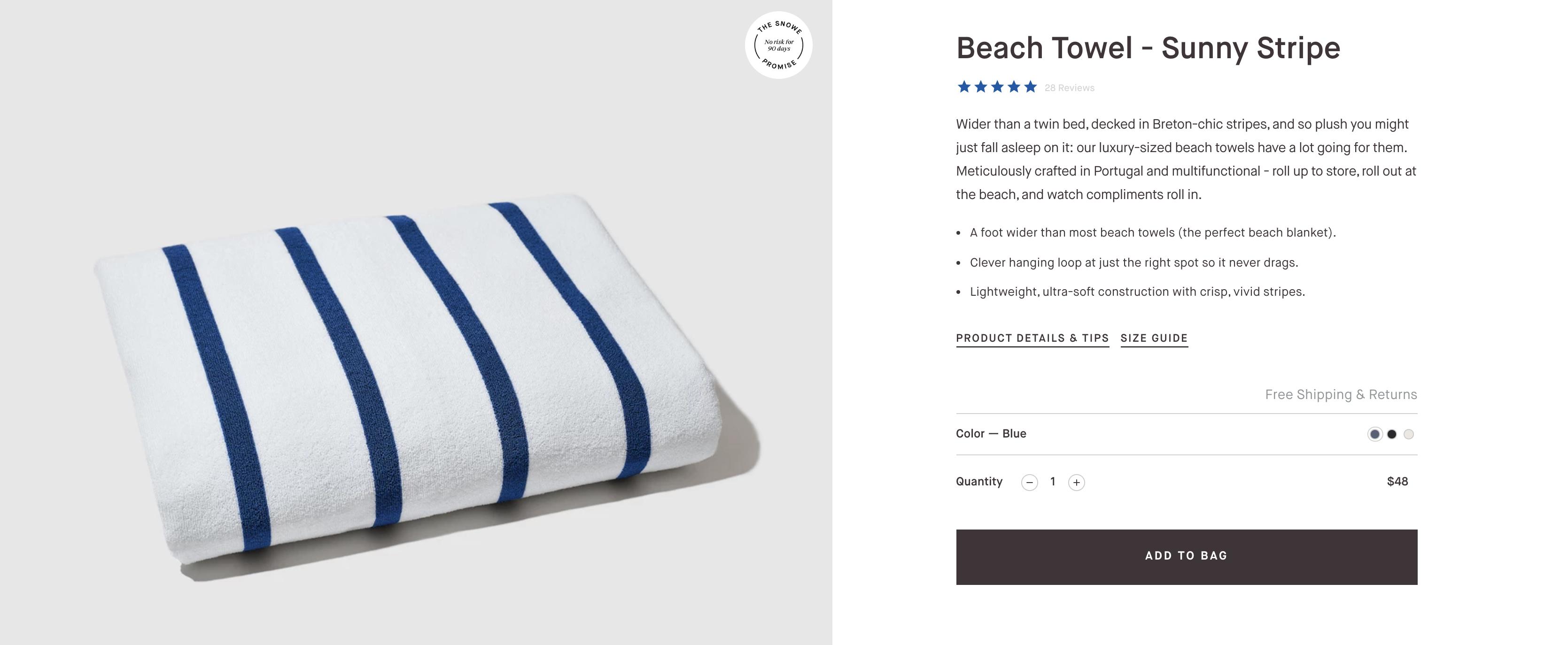 snowe home website screenshot of product description