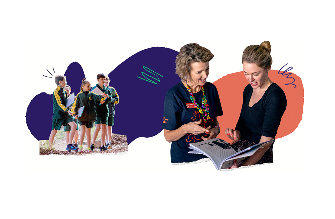 Collage featuring a group of students in school uniform on the left, and an artist and teacher looking through a book on the right.