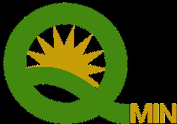 Q-min green logo with yellow sun inside the Q