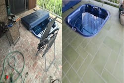 before and after jacuzzi area