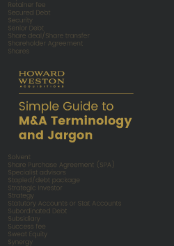 A free simple guide to M&A Jargon