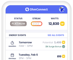 OhmConnect product showing Watts earned