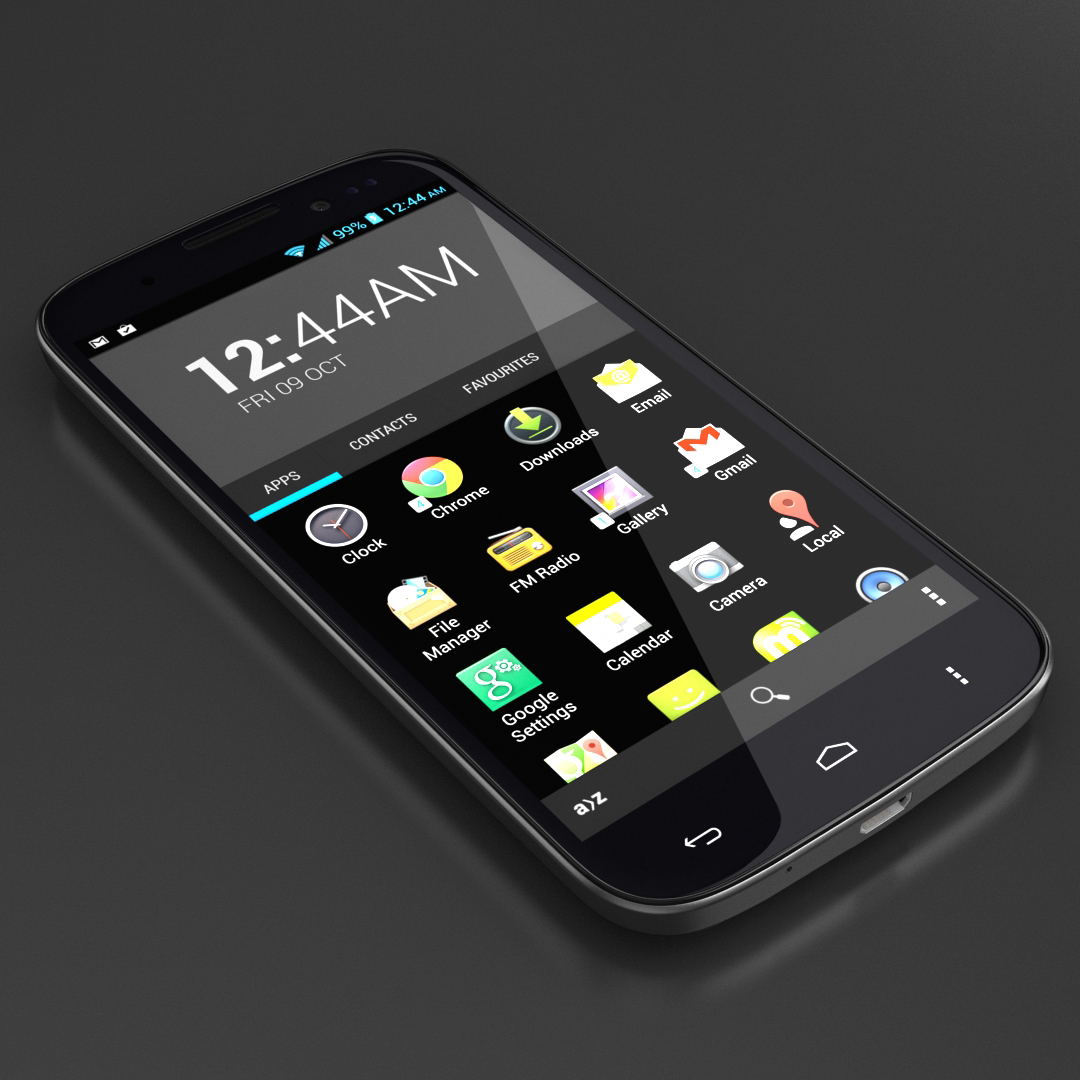 "smartphone 5"" front 3d design and modeling"