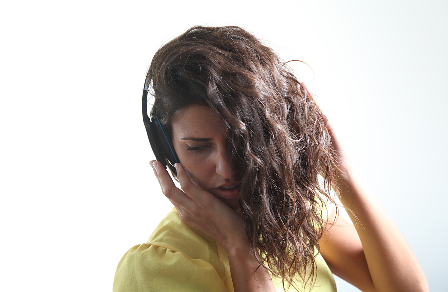 female with headphone bluetooth photography