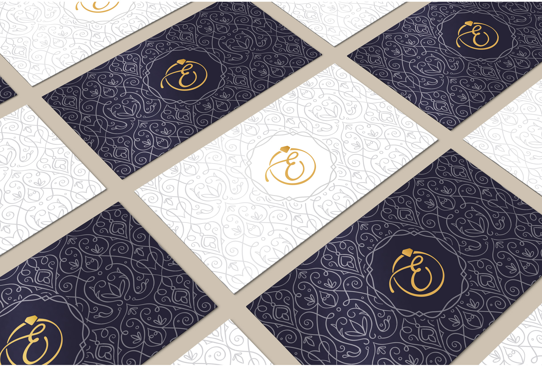 corporate identity business card design with gold foil print and spot-uv