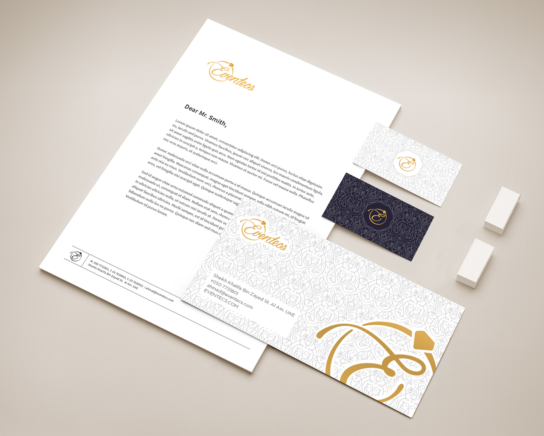 corporate identity business card, letter head envelope design