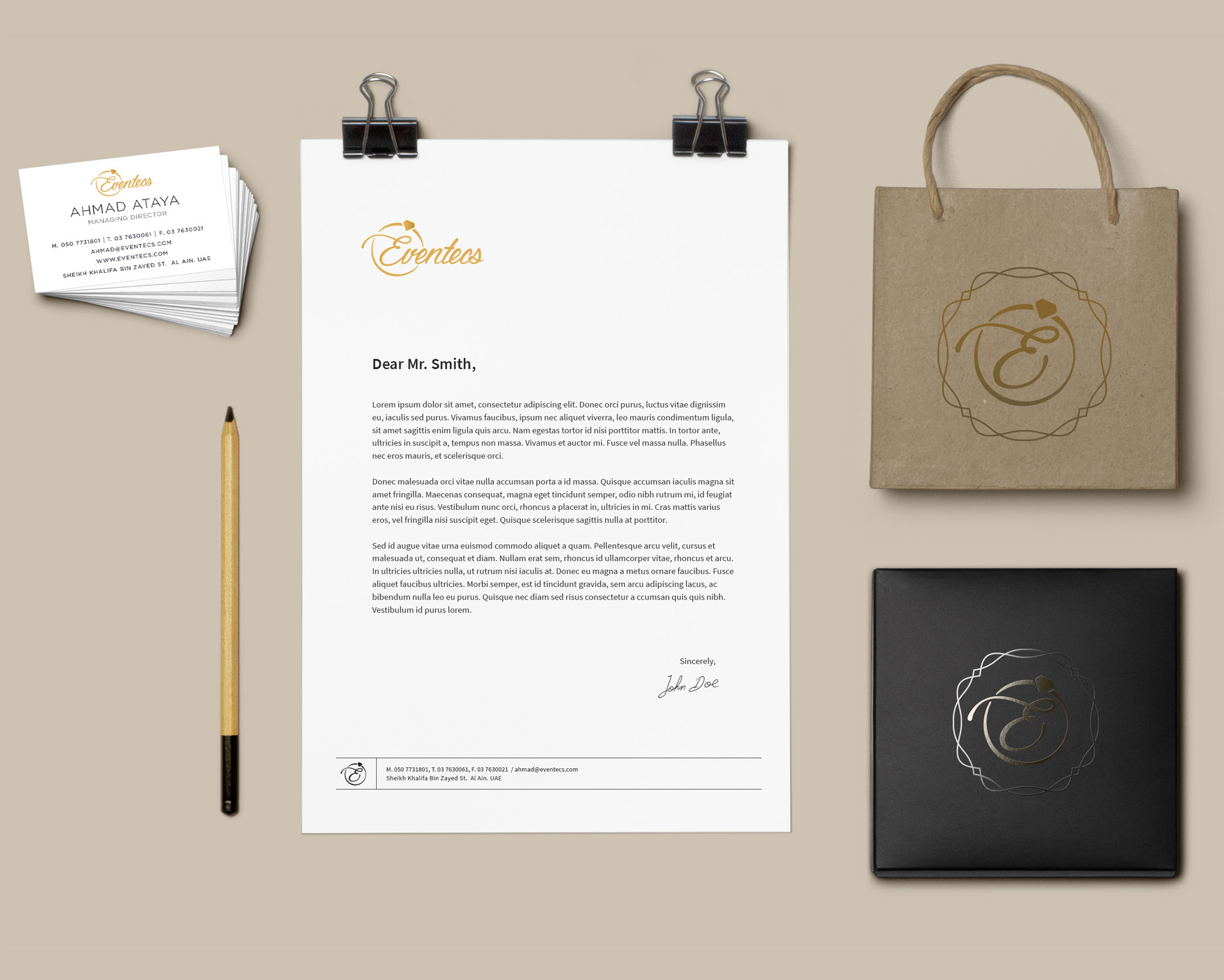 corporate identity business card, letter head, bag and envelope design