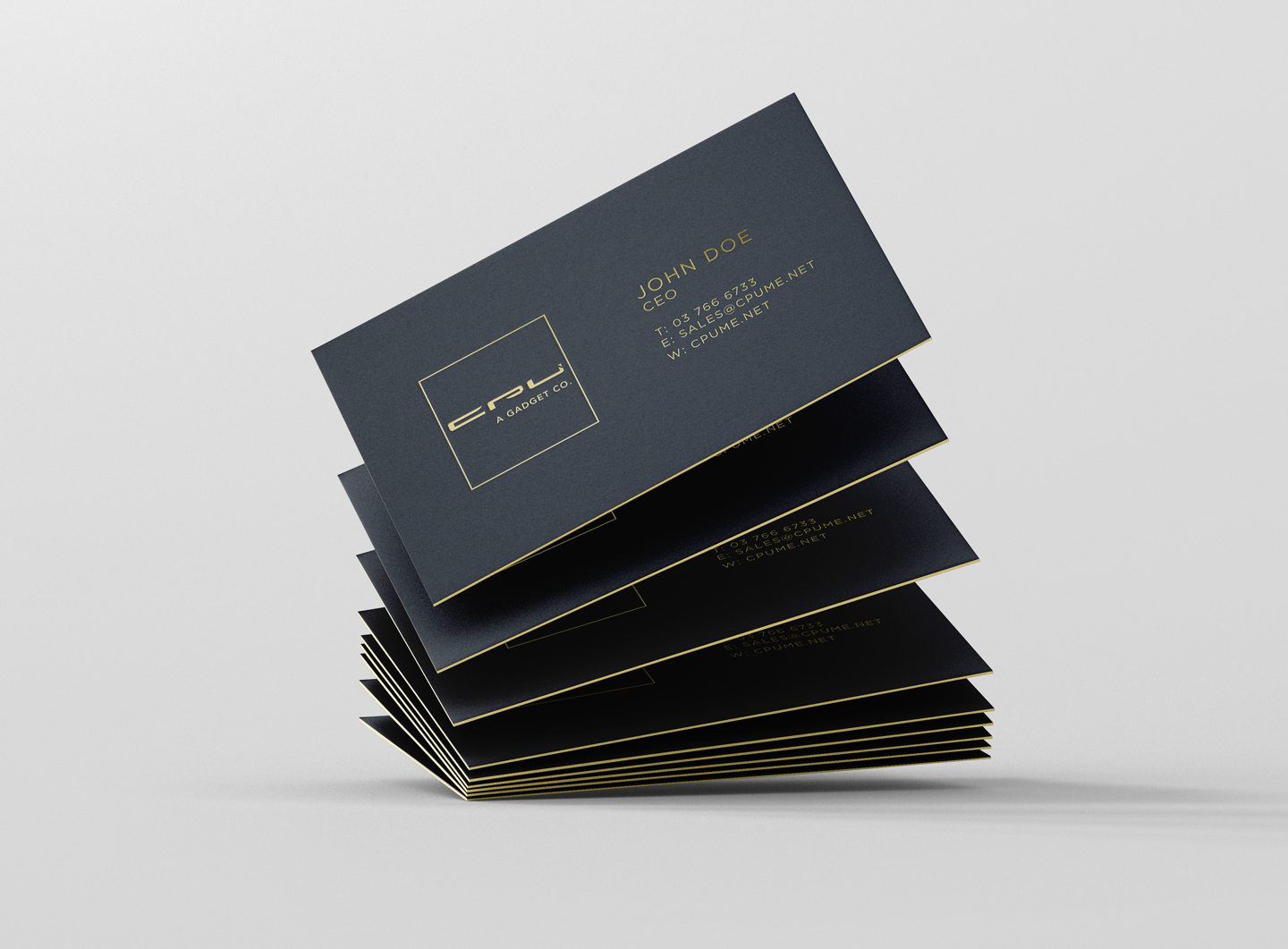 business card gold on black sandwich style design