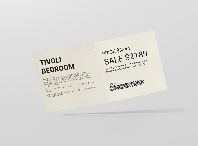 furniture store price tag open design