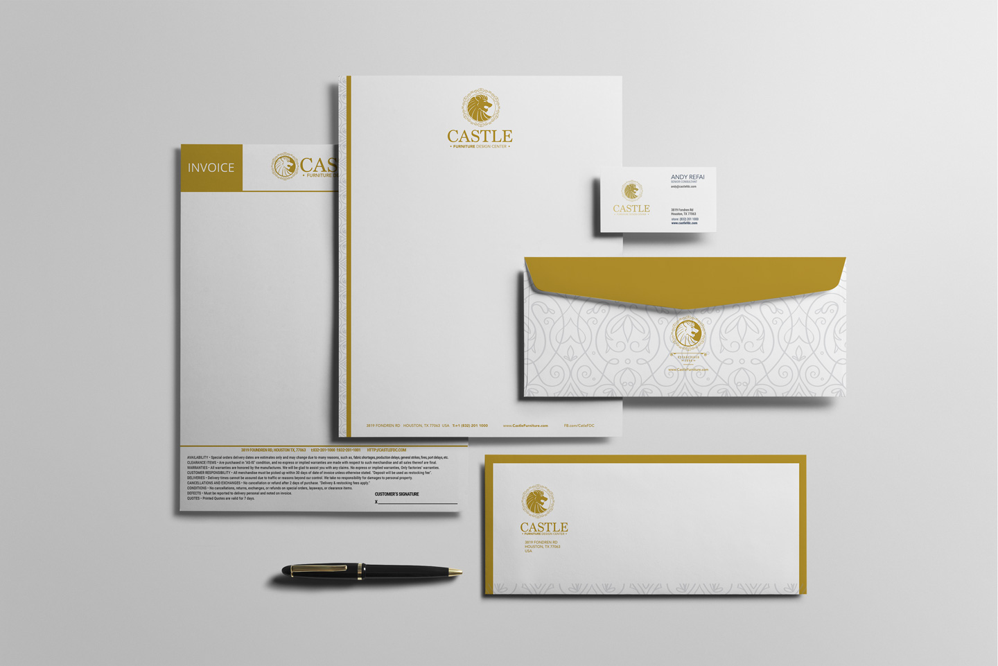 corporate identity design with envelope, business card, invoice, and letter head
