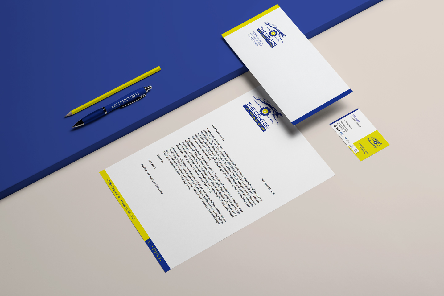 corporate identity with business card, letterhead, envelope and pen design