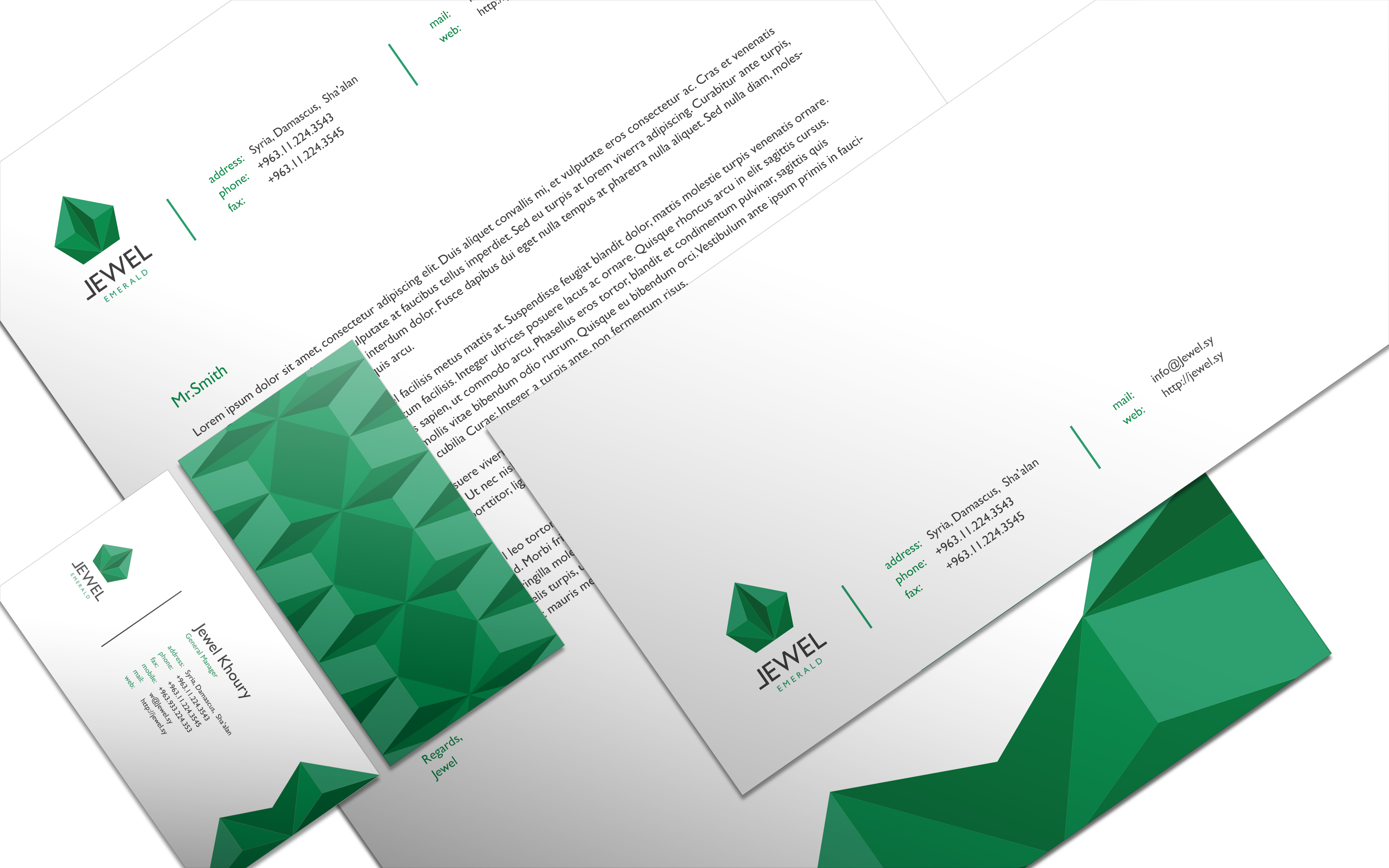 jewelry store corporate identity design with letter head and envelope