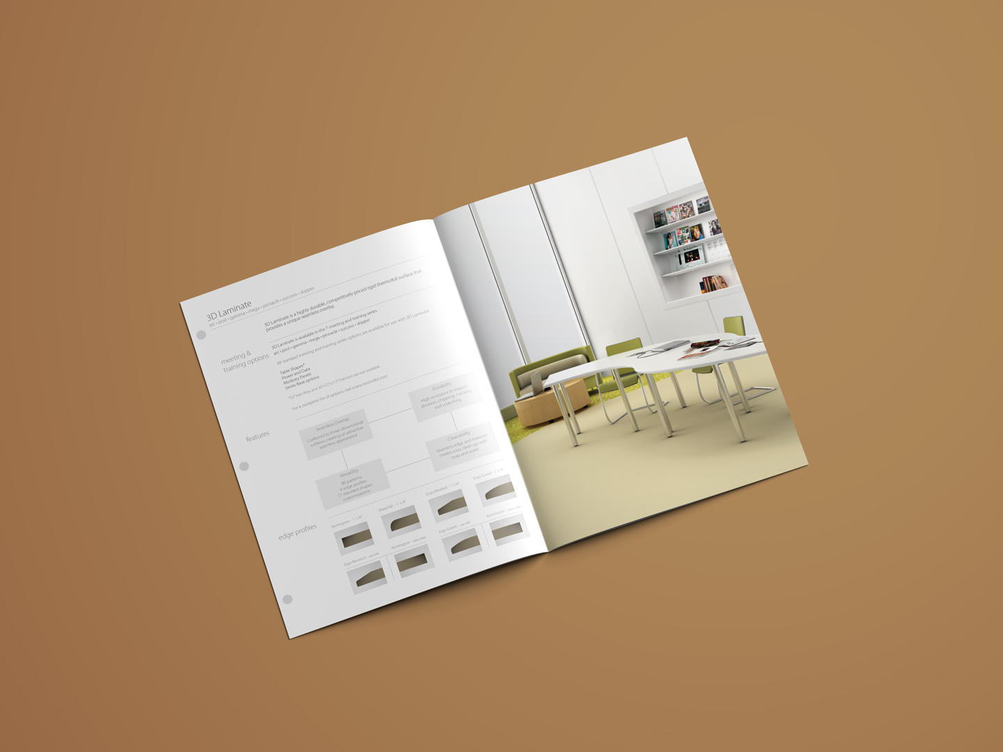 furniture brochure cut-sheet design