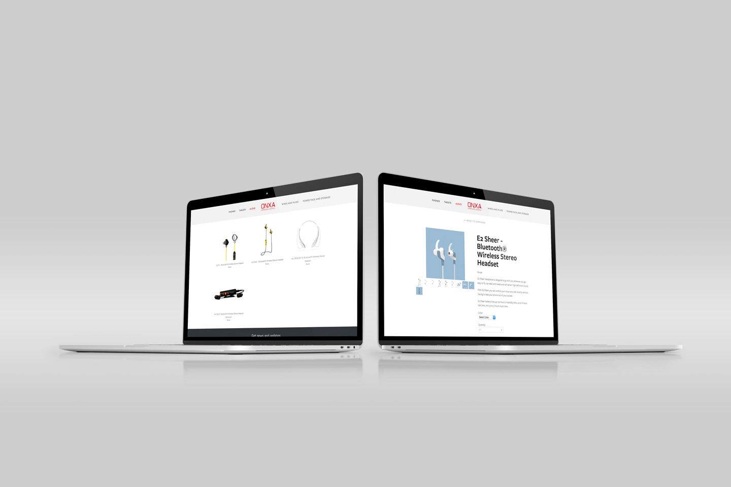 responsive shopping and e-commerce product detail website design on laptop