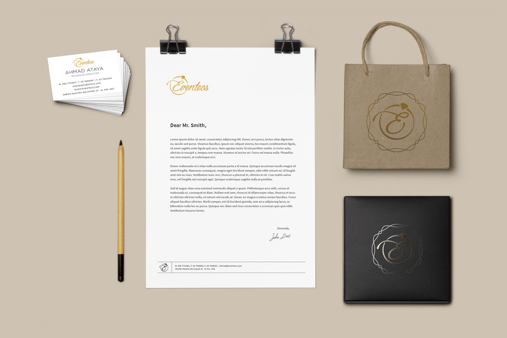 Business card, letterhead, bag and corporate identity design