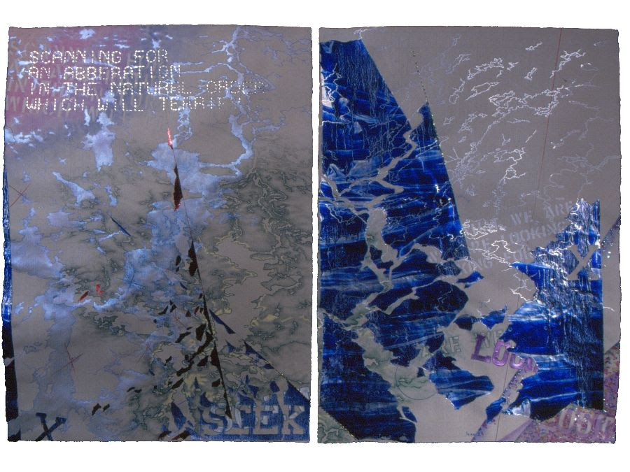 """Leila Daw - Scanning Mixed media diptych on Fabriano paper, 34 x46"""" (framed)"""