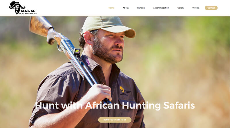 Screenshot of the African Hunting Safaris website