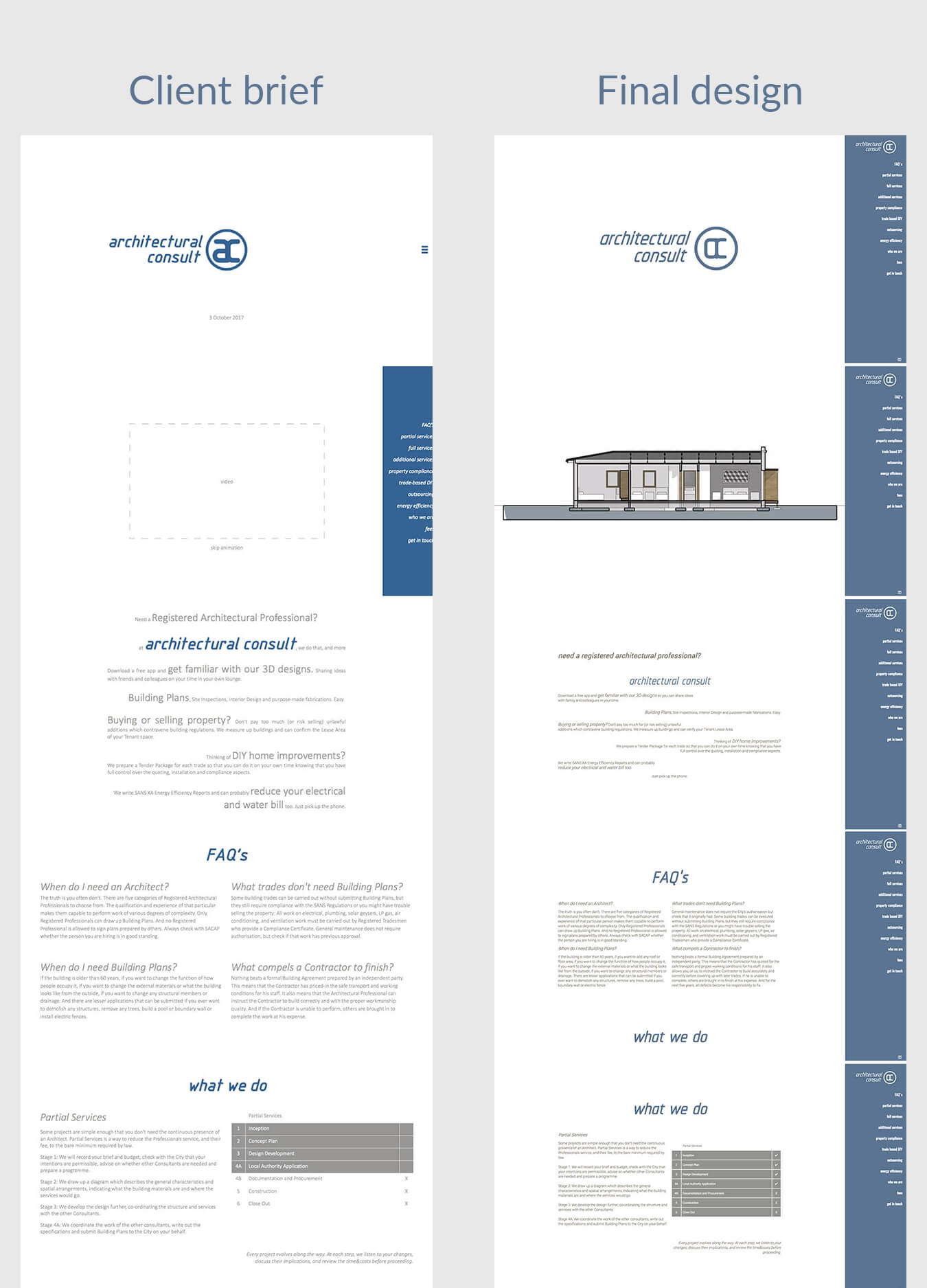 Image of the client brief and final design of architectural consult website