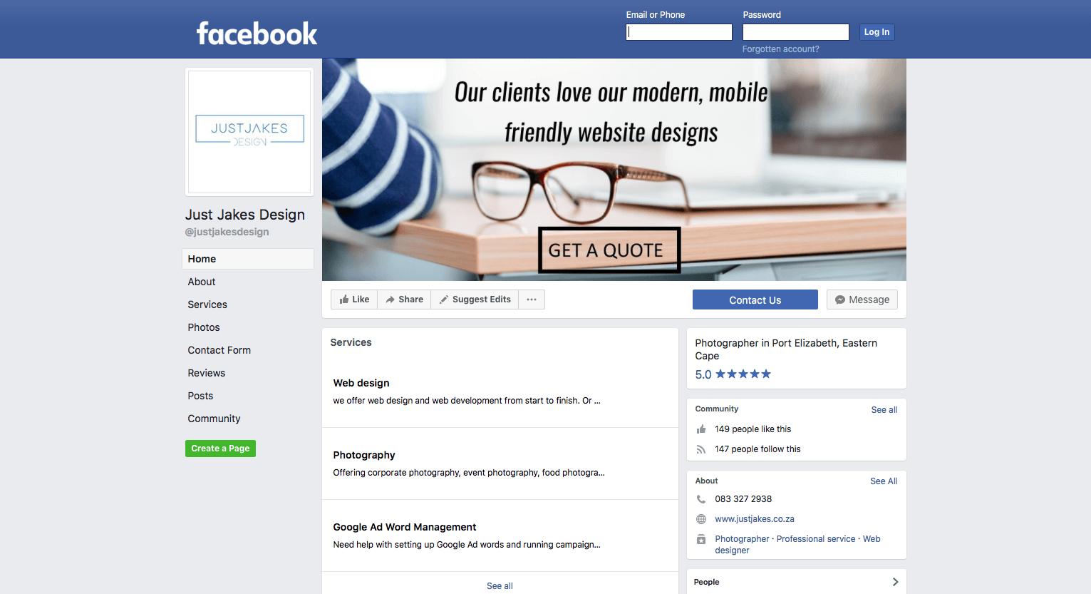 Just Jakes Design Facebook Screenshot