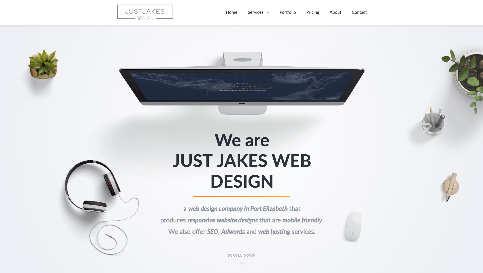 Just Jakes Web Design Home page screenshot