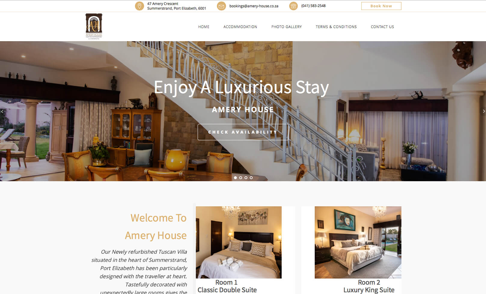 Web Design, Interior, Exterior and Food Photography for a Port Elizabeth based guest house.