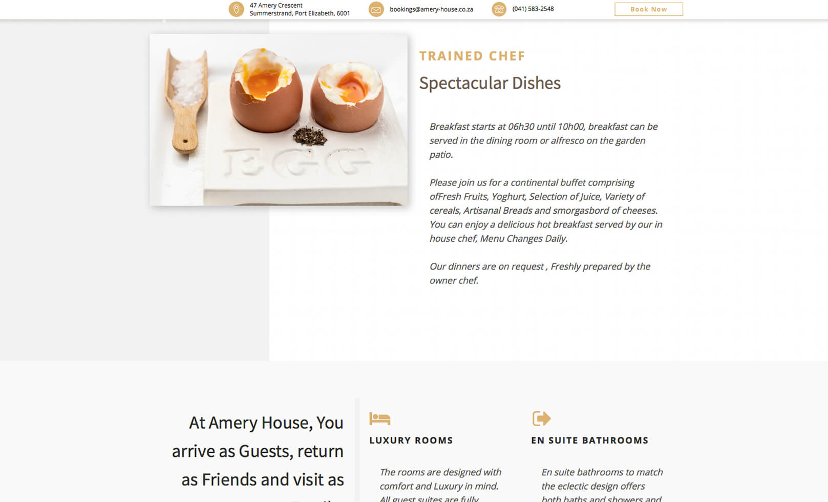 screenshot of amery house website
