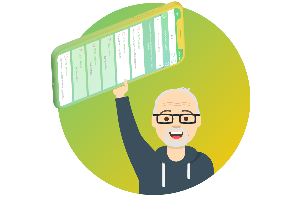 Patrick and his Evergreen Life personal health record app