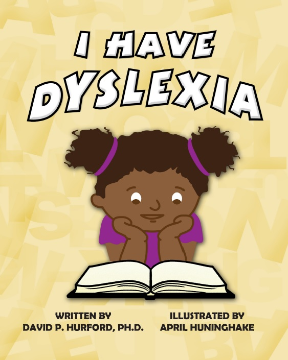 A young multicultural girl with pigtails reading a book called I Have Dyslexia
