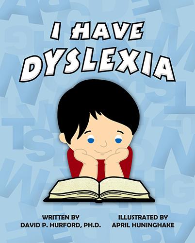 A young boy reading a book called I Have Dyslexia