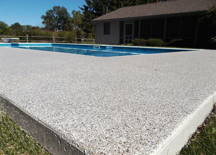 close-up of pool deck