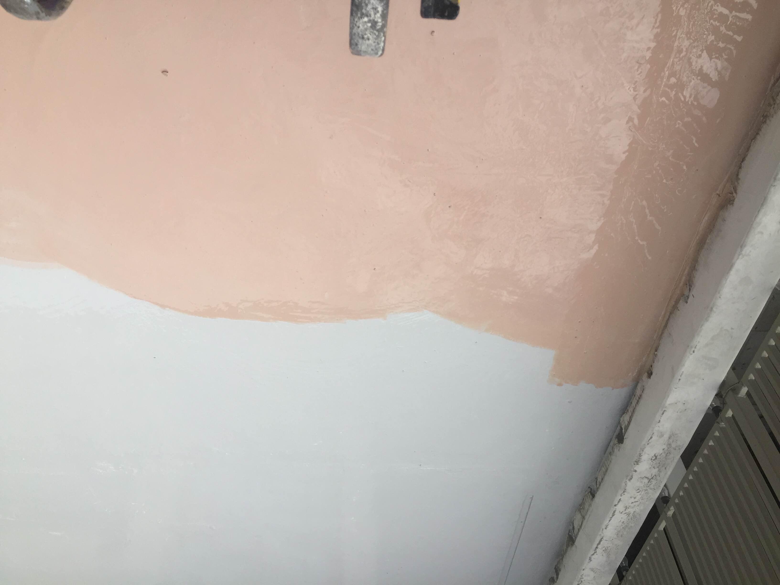 waterproofing coating work in progress