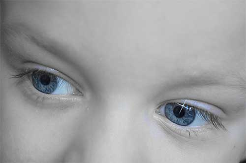 Child with light blue color eyes