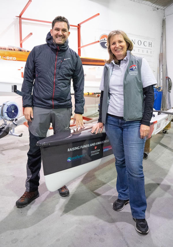 photo of Jordan and his Explorer Boat with Nicola Douglas at Rannoch HQ