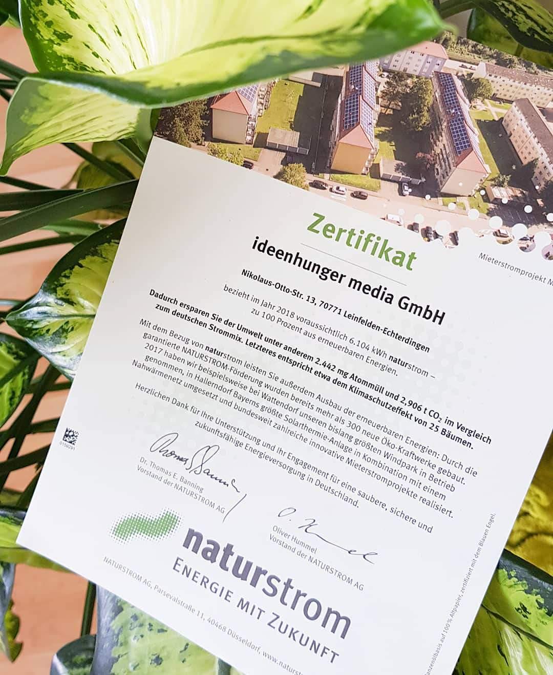 Zertifikat von Naturstrom für ideenhunger