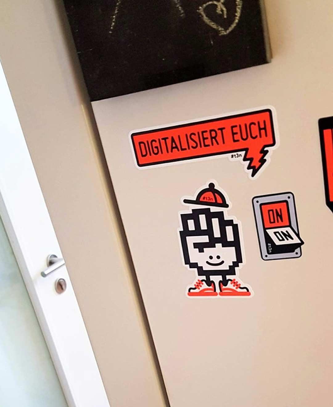 Stickers von der t3n zum Thema Digitalisierung