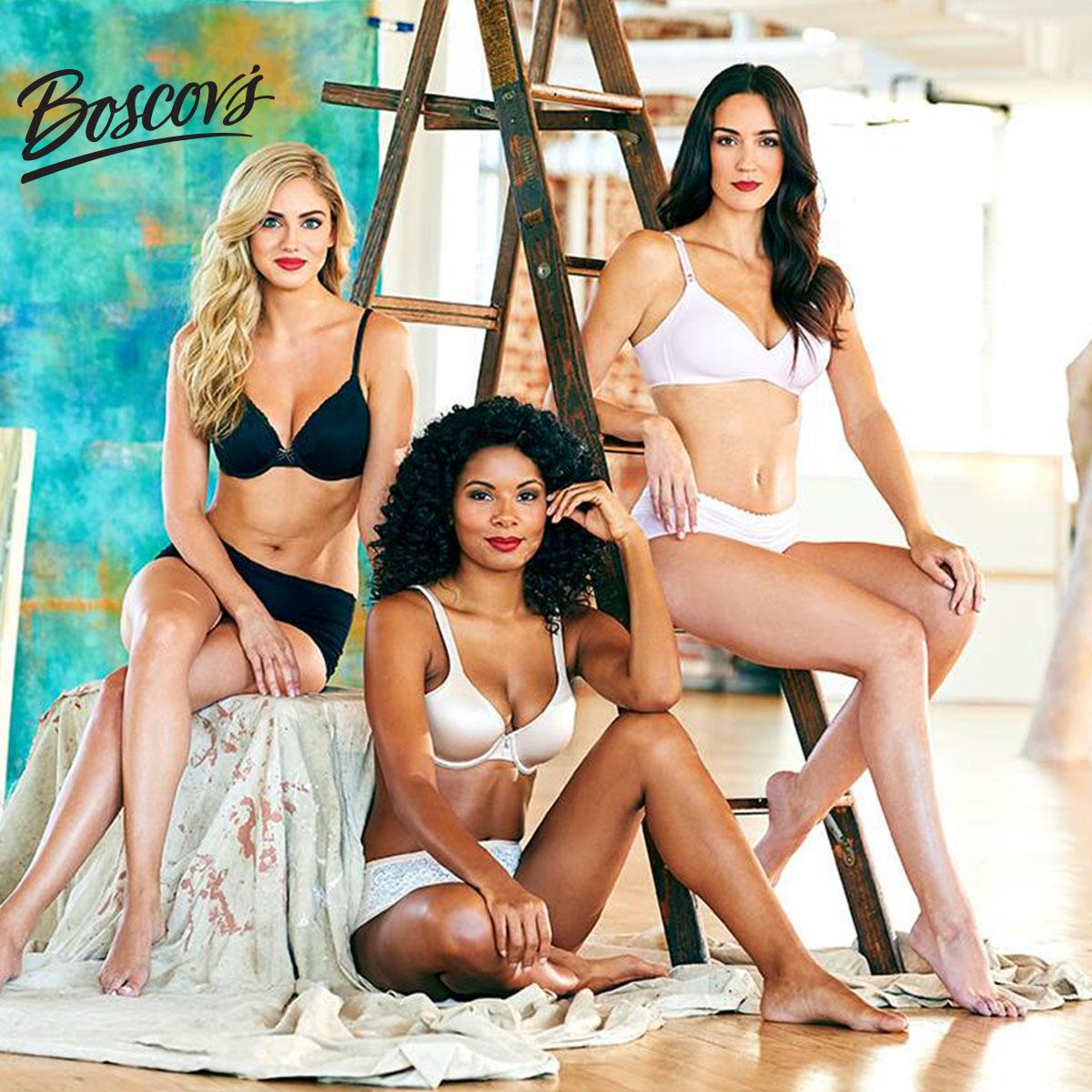 three women modeling bras