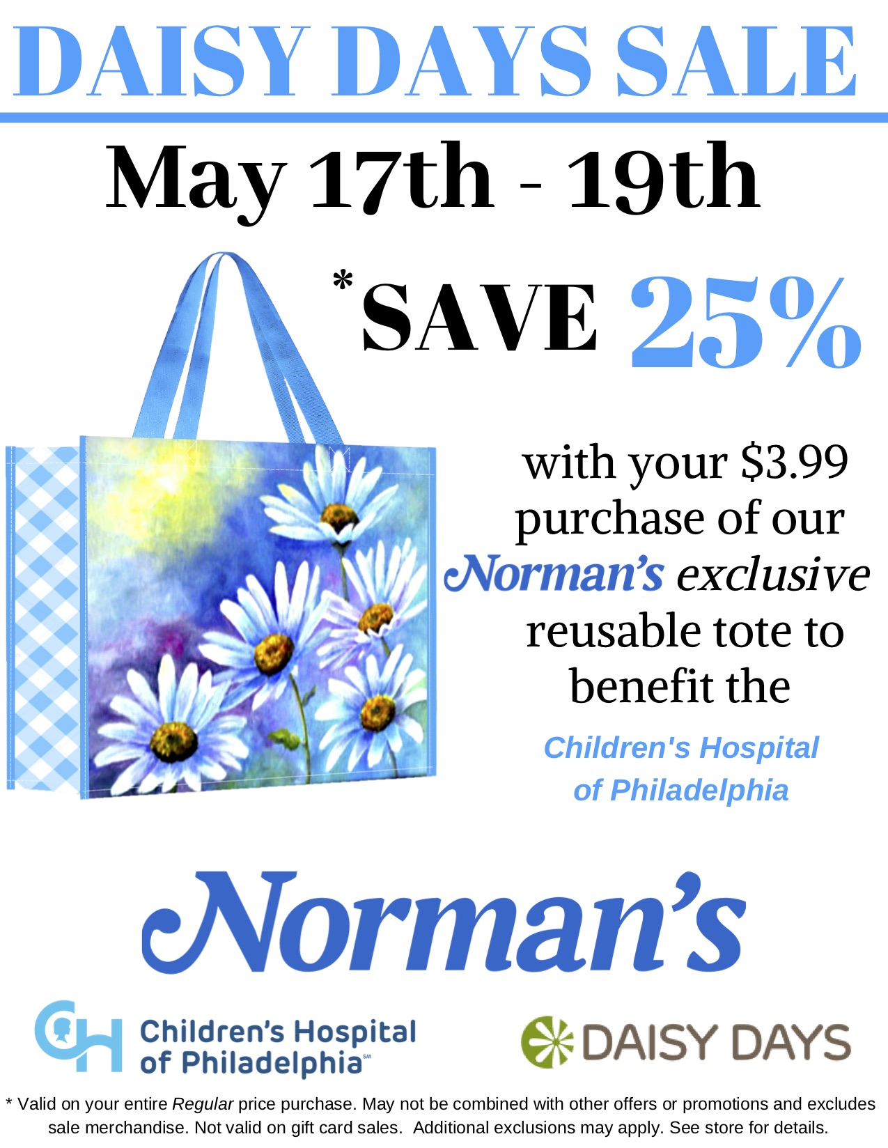Blue and white daisy tote Daisy Days Sale information