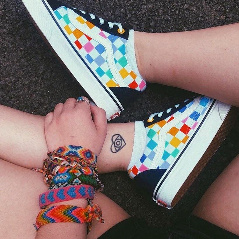 rainbow check hightop vans