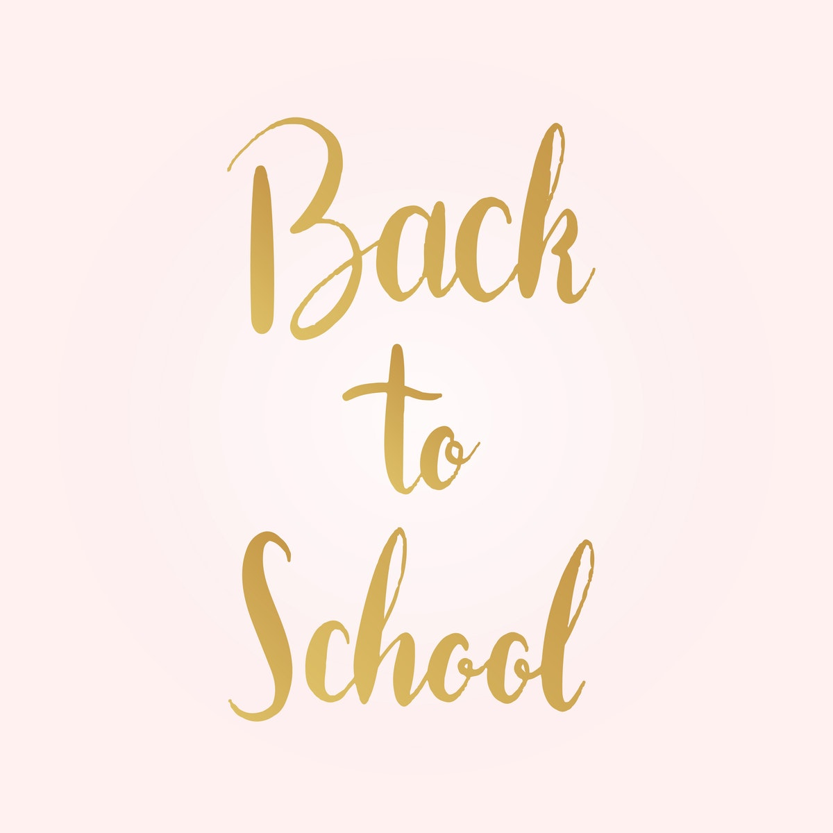 "Photo of ""Back to school"" written in cursive, golden text on a pale pink background"