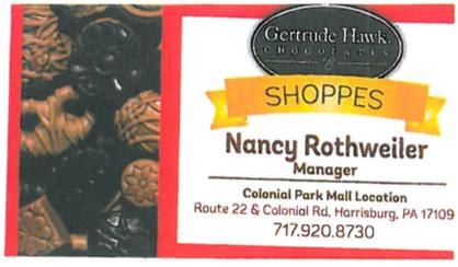 Gertrude Hawk Chocolates Nancy Business Card