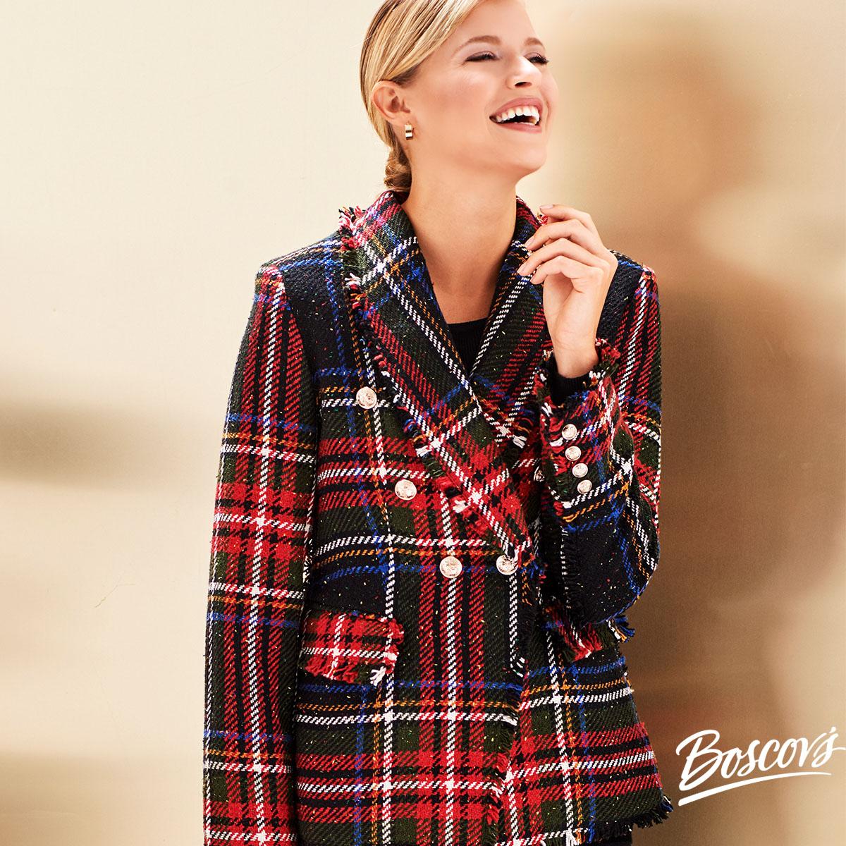 Boscov's Fall plaid outerwear