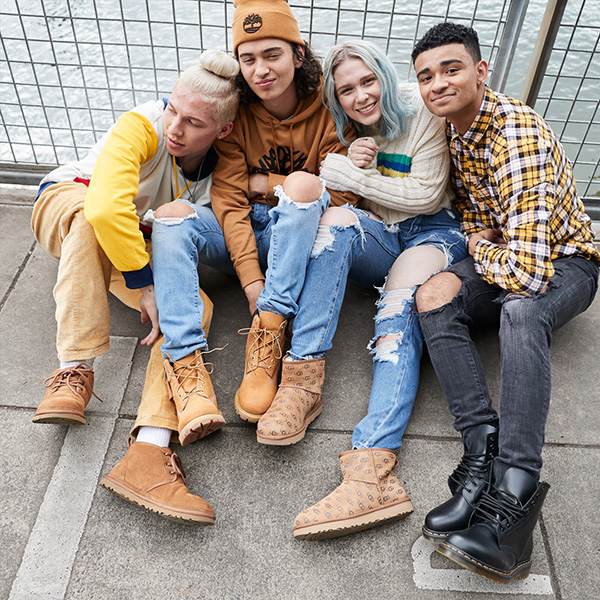 Photo of a group of teens wearing new boots