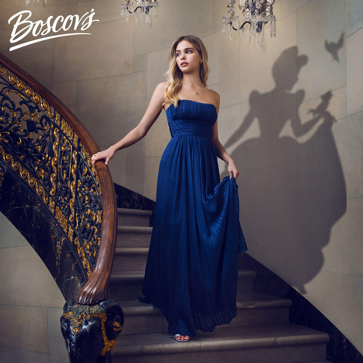 Photo of a woman with a blue necklace and diamond earrings in a blue gown walking down a staircase with the shadow of Cinderella