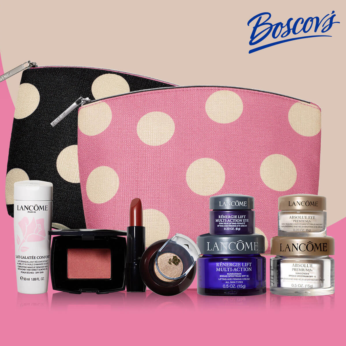 Photo of Lancôme cosmetic products and two small toiletry bags: one pink and one black with large polka dots.
